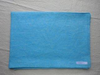 麻の一枚布 かすりターコイズブルー2m×1.4m