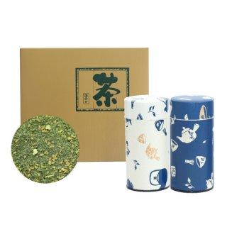 抹茶入り玄米茶セット 急須缶(白・青)200g×2缶入