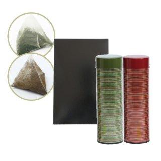 本格派緑茶(ティーバッグ)6g×10個入 本格派ほうじ茶(ティーバッグ)6g×12個入 各1缶箱入り(緑・赤)