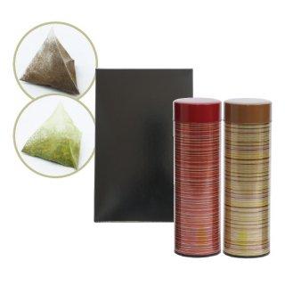 本格派ほうじ茶(ティーバッグ)6g×12個入 抹茶入り玄米茶(ティーバッグ)6g×12個入 各1缶箱入り(赤・茶)