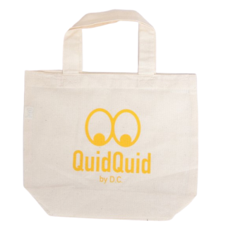 QuidQuidロゴオリジナル  洗えるコットンエコバッグ(小)<br>