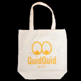 QuidQuidロゴオリジナル  洗えるコットンエコバッグ(大)<br>