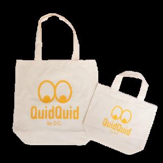 QuidQuidロゴオリジナル  洗えるコットンエコバッグ(大・小セット)<br>