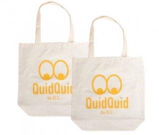 QuidQuidロゴオリジナル  洗えるコットンエコバッグ(大)2個セット<br>