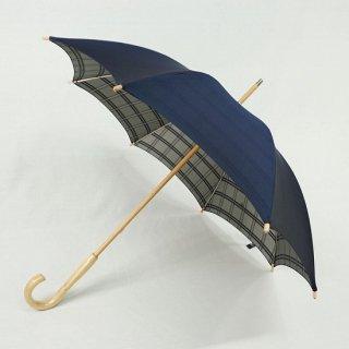 甲州織 裏格子晴雨兼用長日傘 KOU91A:ネイビ−/KOU91D:エンジ<br>