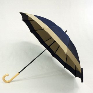 甲州織 両面晴雨兼用長日傘12本骨 KOR91A:ネイビ−&ベージュ/KOR91H:ベ−ジュ&レンガ<br>