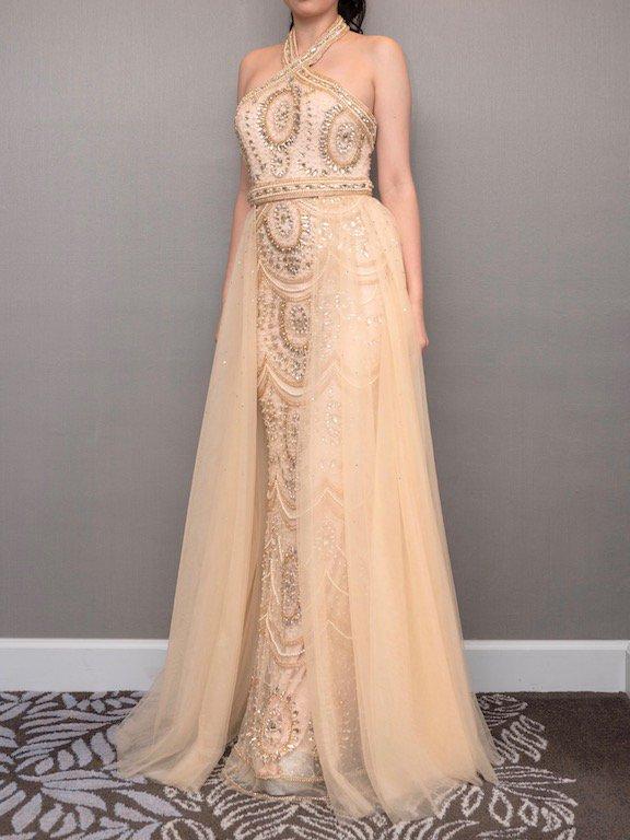 ゴールドクロスネックチュールオーバースカート付マーメイドドレス (Pre-owned )