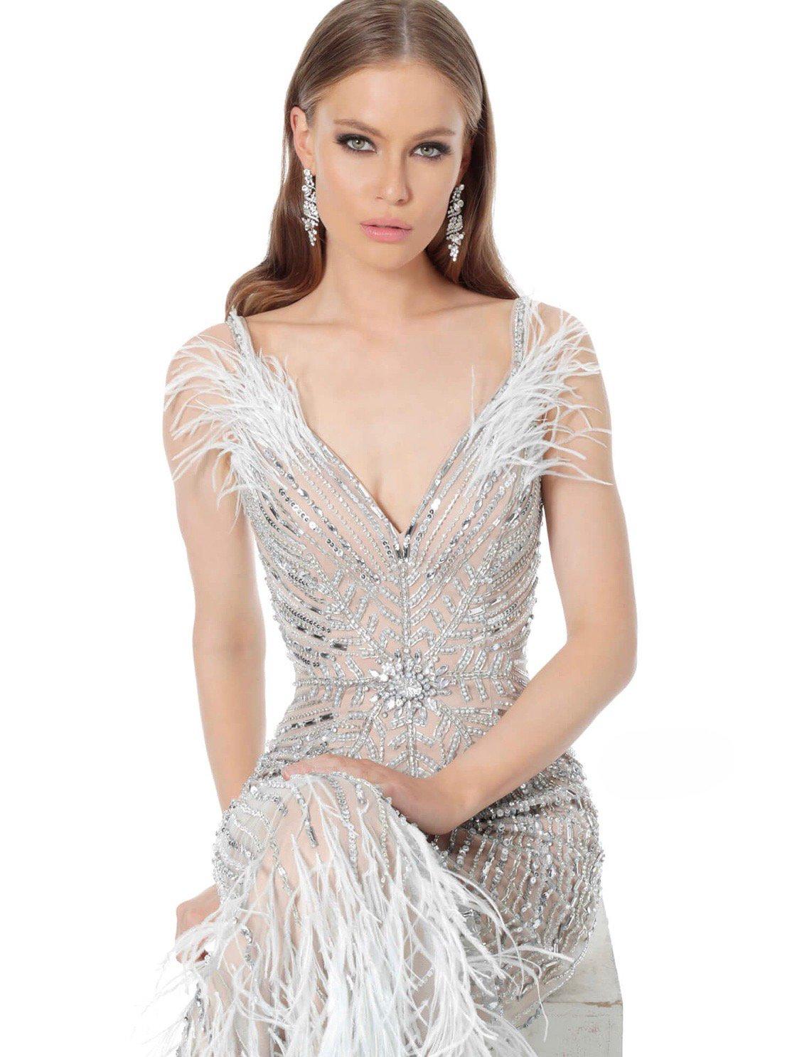 ライトブルーフェザースパンコールヌーディーオフショルダーマーメイドドレス