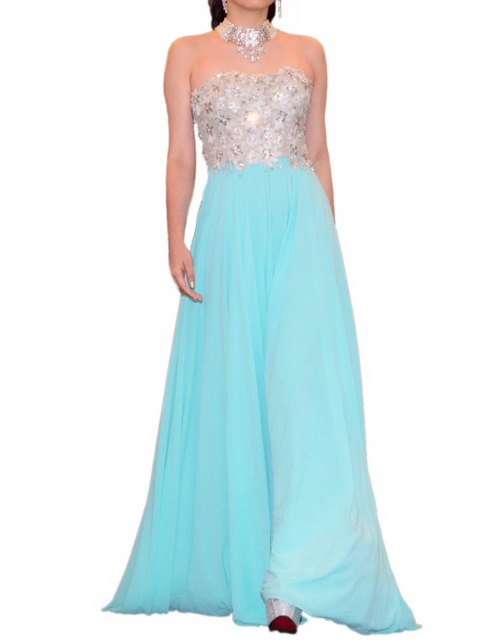 シルバーフラワービスチェペパーミントブルーオーガンジースカートドレス (Pre-owned)