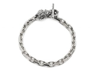 【Bill Wall Leather/ビルウォールレザー】ブレスレット/B563-L:Square Chain Link w/animal head (LION)