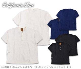 【CALIFORNIA LINE/カリフォルニアライン】リネンTシャツサイドポケット付きヘンリーネック/CLC20-009