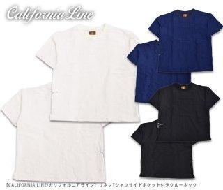 【CALIFORNIA LINE/カリフォルニアライン】リネンTシャツサイドポケット付きクルーネック/CLC20-011