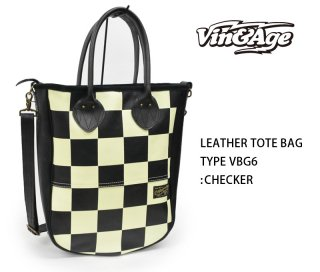 【Vin&Age/ヴィンアンドエイジ】トートバッグ/LEATHER TOTE BAG:TYPE VBG6 :チェッカー