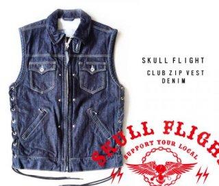 【SKULL FLIGHT/スカルフライト】ベスト/DENIM CLUB ZIP VEST