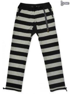 【WEST RIDE/ウエストライド】ボトム/ BORDER LONG PANTS:ブラック×ヘザーグレー