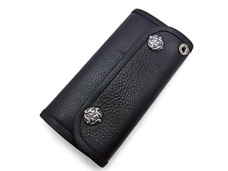【Bill Wall Leather/ビルウォールレザー】ウォレット/W906:Flat Black Leather (Button=WAVE Snap)(Wallet Hole=PLAIN)