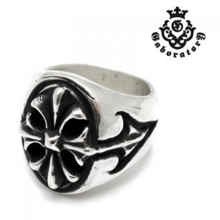 【Gaboratory/ガボラトリー】リング/150-A:CROSS OVAL SIGNET RING