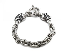 【Gaboratory】ブレスレット/sbr003:SMALL OVAL LINKS 2SKULL BRACELET