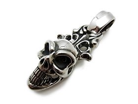 【Bill Wall Leather/ビルウォールレザー】ペンダント/PN948:Large Good Luck Skull w/Crown Pendant