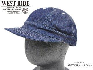 【WESTRIDE/ウエストライド】キャップ/ ARMY CAP BLUE DENIM