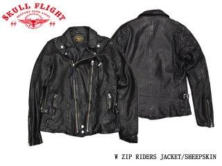 【SKULL FLIGHT スカルフライト】W ZIP RIDERS JACKET/SHEEPSKIN:SFJ20-005