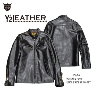 【Y'2 LEATHER/ワイツーレザー】レザージャケット/PR-64:VINTAGE PONY SINGLE RIDERS JACKET