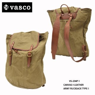 【VASCO/ヴァスコ】BAG/キャンバス×レザー アーミーリュックサック TYAPE�:VSー204P�
