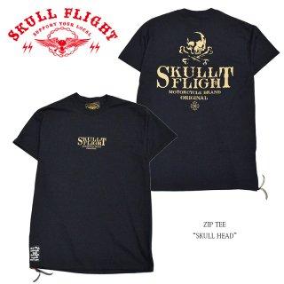 【SKULL FLIGHT/スカルフライト】Tシャツ/ZIP TEE:SKULL HEAD