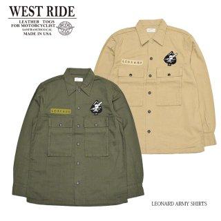 【WEST RIDE/ウエストライド】シャツ/LEONARD ARMY SHIRTS:MB2104