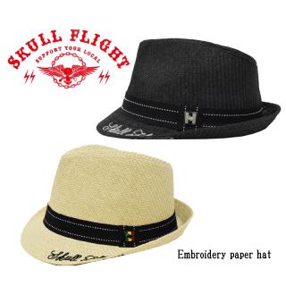 【SKULL FLIGHT/スカルフライト】キャップ/Embroidery Straw Hat