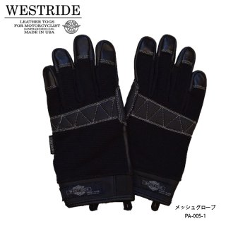 【WESTRIDE/ウエストライド】メッシュグローブ/TEXTILE GLOVE SOLID BLK
