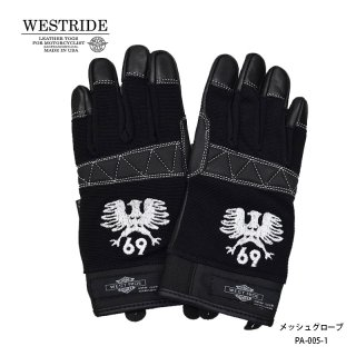 【WESTRIDE/ウエストライド】メッシュグローブ/TEXTILE GLOVE EAGLE 69 BLK