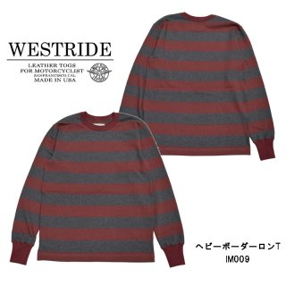 【WEST RIDE/ウエストライド】ロングスリーブ/HEAVY BORDER LONG SLEEVE TEE21 WI RED/H.GRY