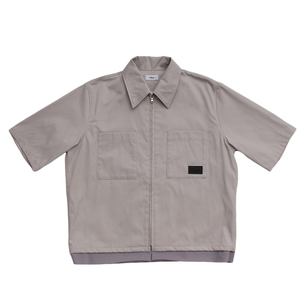 S/S ZIP SHIRT 【GREY】