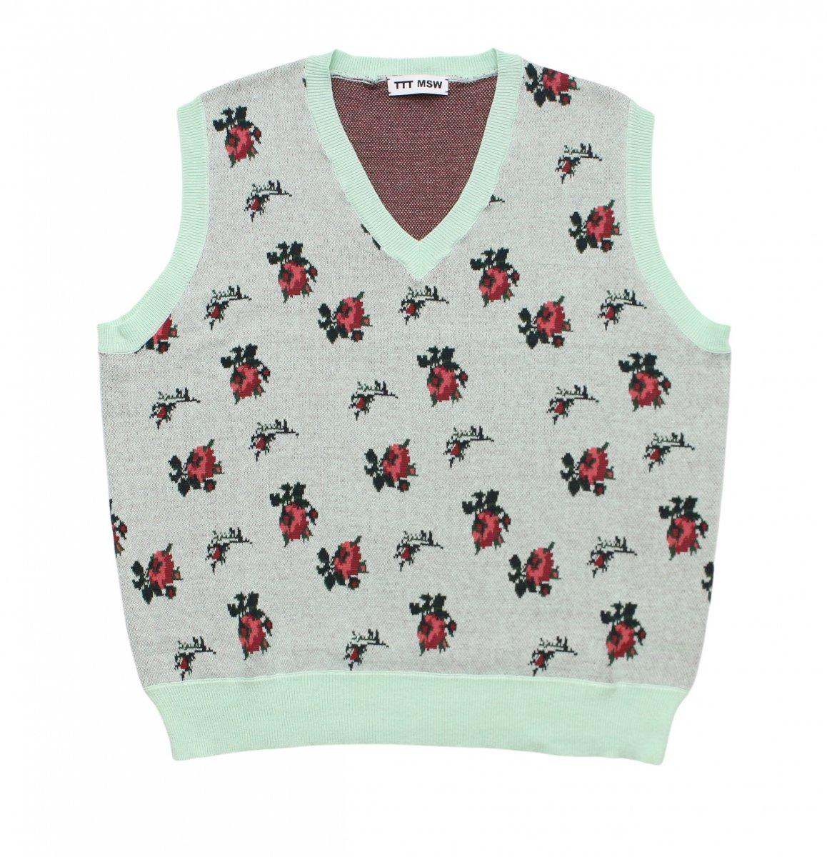 flower knit vest【MINT】