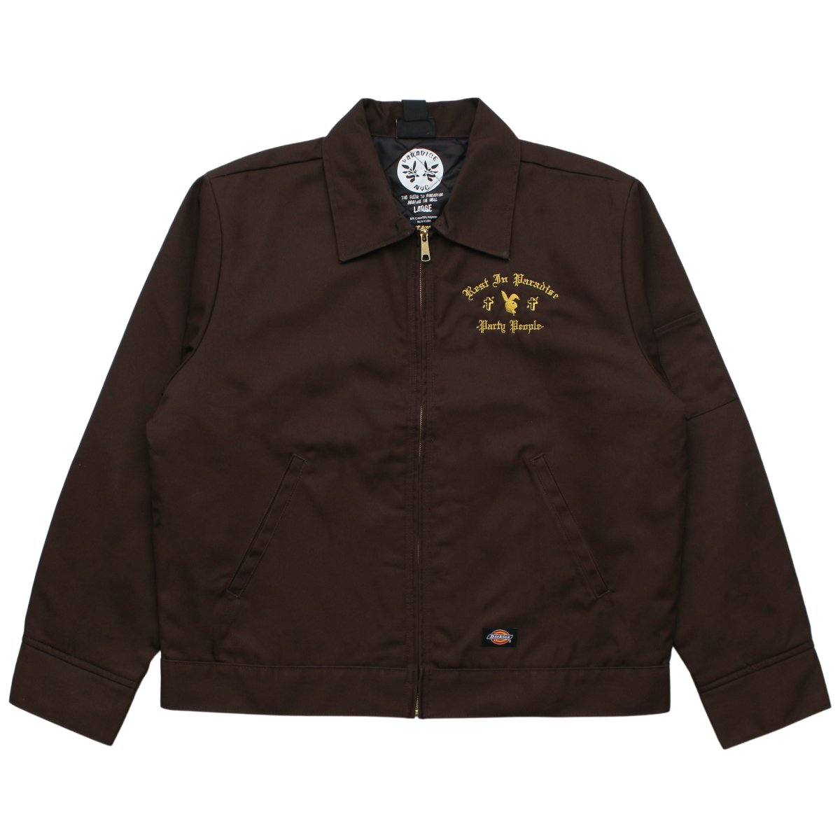 PARTY PEOPLE DICKIES (GOLD EMBROIDERY) 【BROWN】