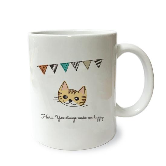 ネコさんマグM・フラグ「短毛・茶トラ白少」