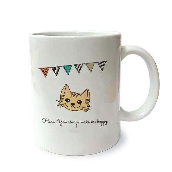 ネコさんマグM・フラグ「長毛・茶トラ」