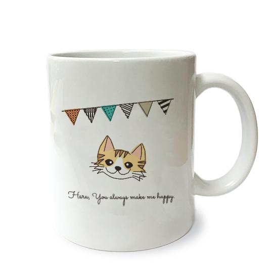 ネコさんマグM・フラグ「長毛・茶トラ白多」