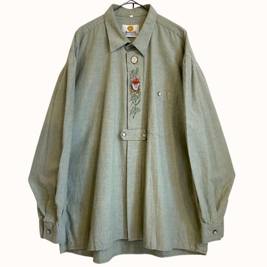 nature green&embroidery tyrolean shirt