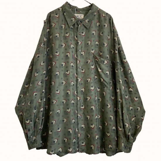 earth color abstract pattern silk shirt