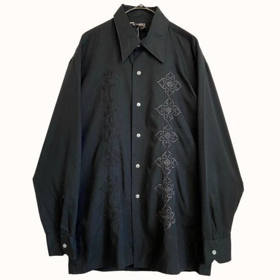 front embroidery black dress shirt
