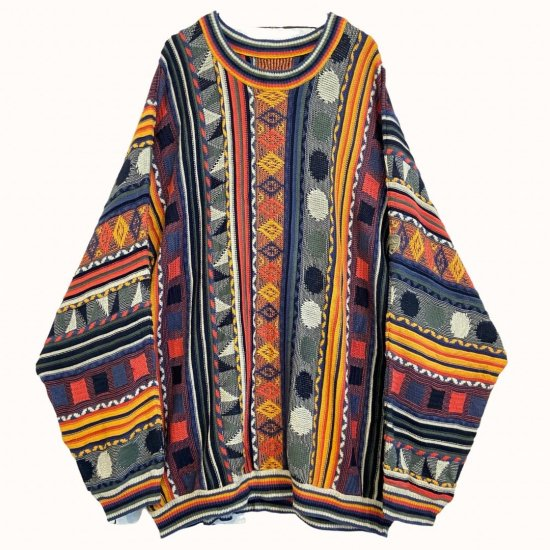 psychedelic coloring ethnic pattern loose 3D knit
