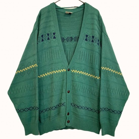 nordic line green color knit cardigan