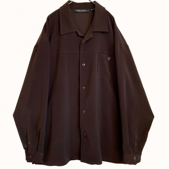 wine red thick textile open collar shirt