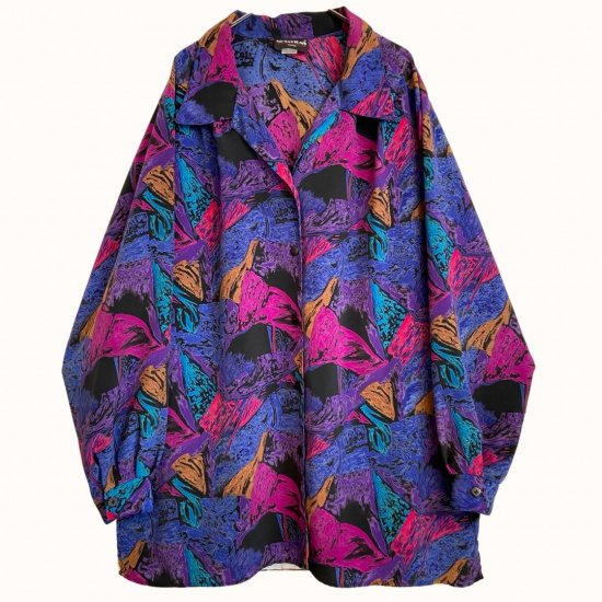 psychedelic&abstract pattern open collar shirt