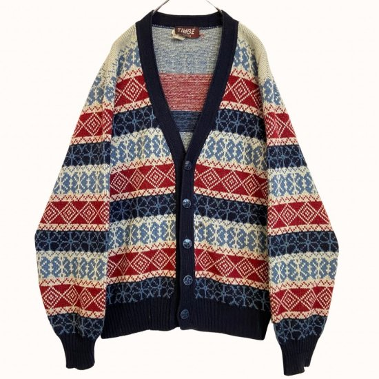 color switch nordic pattern cardigan