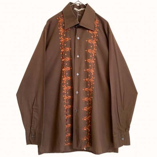 front embroidery brown dress shirt