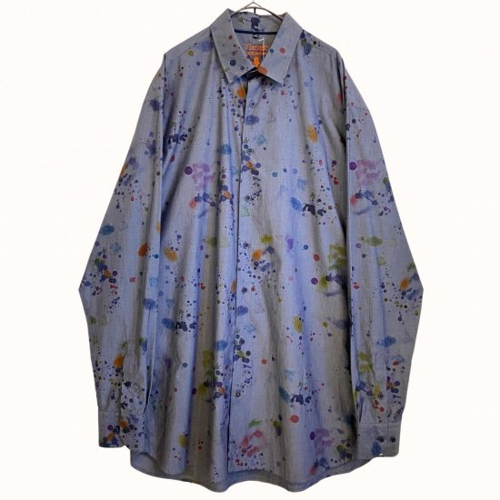 chambray textile dripping paint loose shirt
