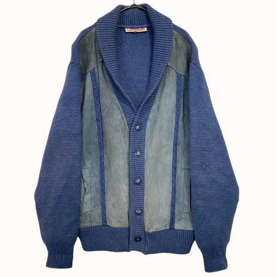 cyan blue color leather switch cardigan